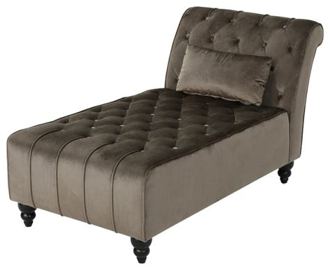 grey tufted chaise lounge rafaela tufted new velvet chaise lounge traditional