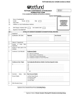 tetfund special intervention grant template tetfund conference attendance normination form fill