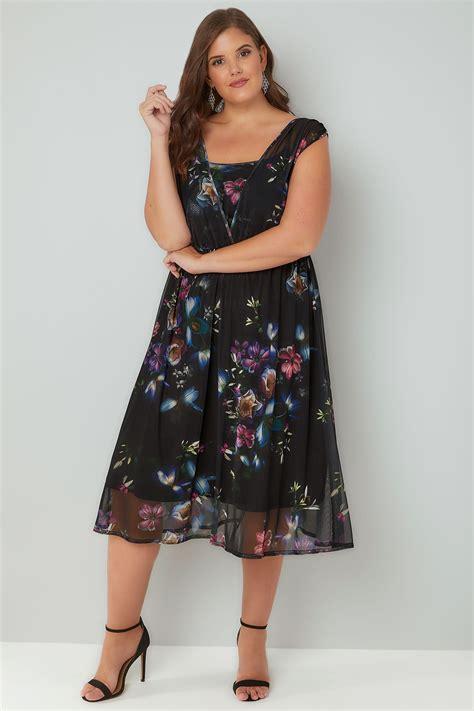 Id 740 Split Mesh Dress black sleeveless layered mesh dress with floral print