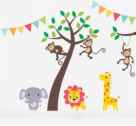 jungle stickers for walls jungle friends tree wall stickers by parkins interiors notonthehighstreet