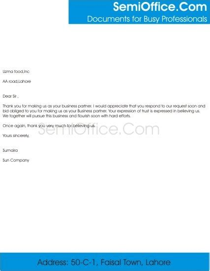 Support Letter For Business Partner thank you letter for business partnership with gratitude