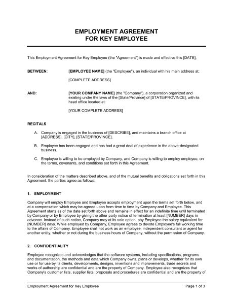 Employment Agreement Key Employee Template Sle Form Biztree Com Key Agreement Template