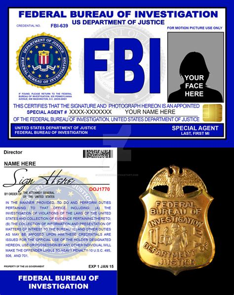 fbi id template fbi credentials v2 by rustybauder on deviantart