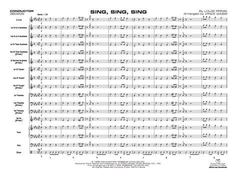 sing sing sing with a swing louis prima sing sing sing by louis prima arr vince gassi j w