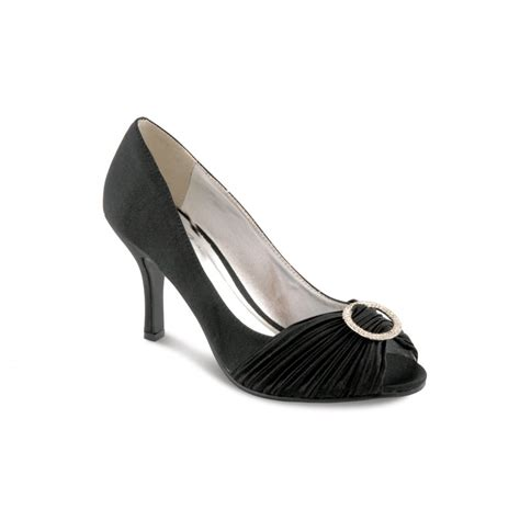 flv132 black satin peep toe shoe with diamante trim