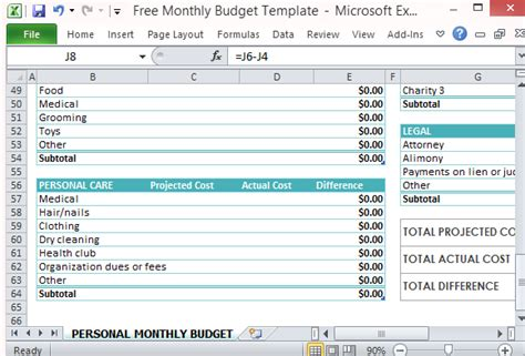Projected Expenses Template Free Personal Monthly Budget Template For Excel
