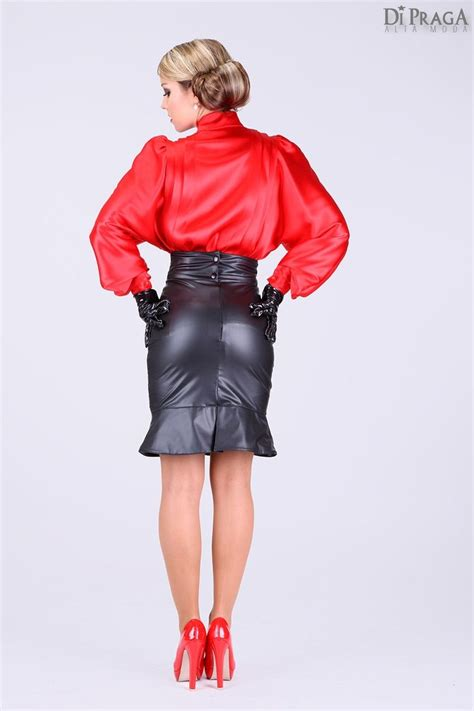 satin blouse black leather pencil skirt sheer