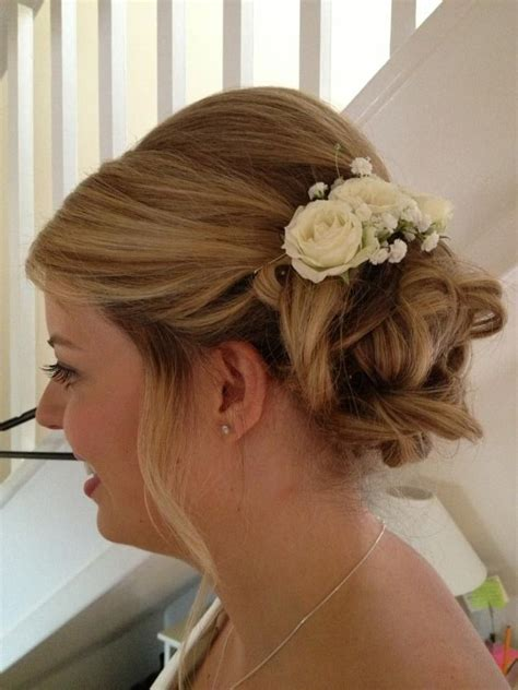 wedding hair with gypsophila wedding hair with spray roses and gypsophila wedding