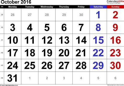 Calendar 2016 October Calendar October 2016 Uk Bank Holidays Excel Pdf Word