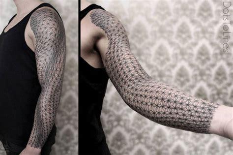 Asanoha Pattern Tattoo | irregular asanoha pattern sleeve tattoo