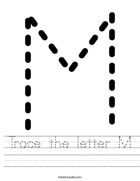 M Tracing Worksheet by Trace The Letter M Worksheet Twisty Noodle