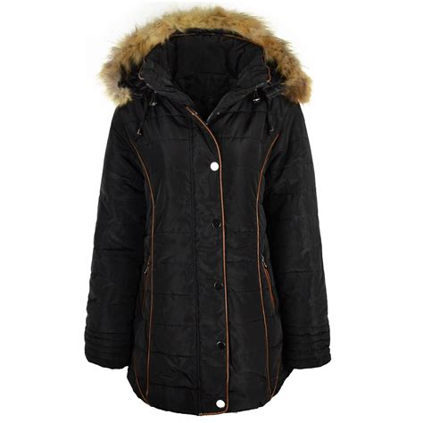 Quilted Plus Size Coats by Womens Plus Size Quilted Winter Coat Padded Puffa Fur Hooded Parka Jacket Ebay