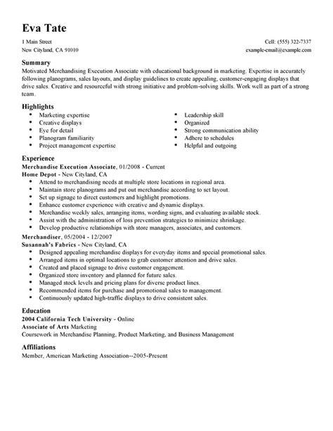 Merchandise Associate Sle Resume by Resume Format Resume For Merchandise Associate