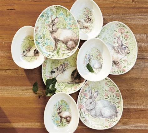 Pottery Barn Easter Dishes bunny egg plates bowls traditional dinner plates by pottery barn