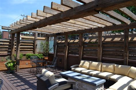 Backyard Covered Decks Contemporary Outdoor Space With Reclaimed Timber Pergola