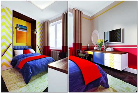 bright multicolor apartment  mid century modern style