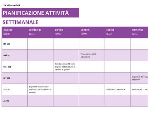 tabella alimentare settimanale pianificazione attivit 224 settimanale office templates