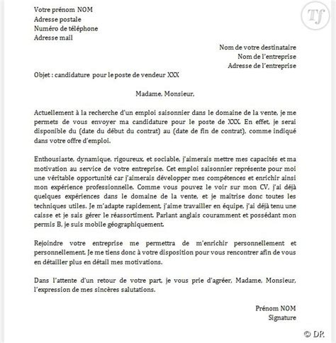 Exemple D Une Lettre De Motivation Pour Un Emploi Gratuit lettre de motivation d 233 t 233 application