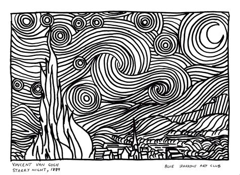 Starry Coloring Page Gogh Van Gogh Starry Night Coloring Page Vincent Van Gogh by Starry Coloring Page Gogh