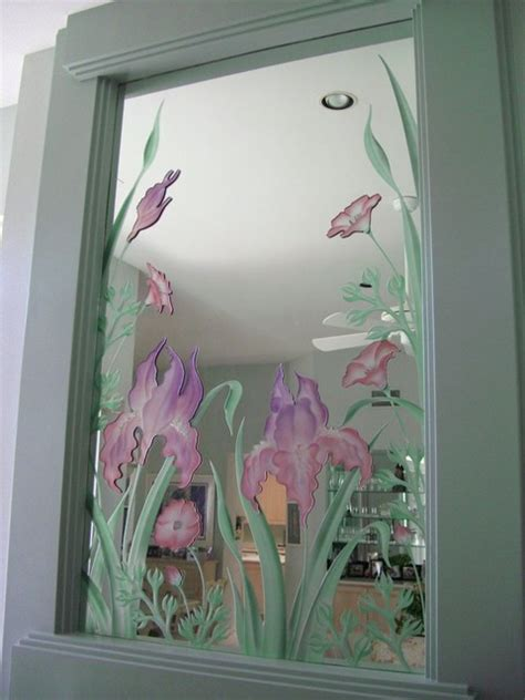 etched bathroom mirror iris flowers decorative mirror with etched carved design
