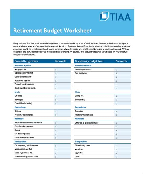Printable Budget Worksheet 18 Free Word Excel Pdf Documents Download Free Premium Templates Excel Retirement Budget Template