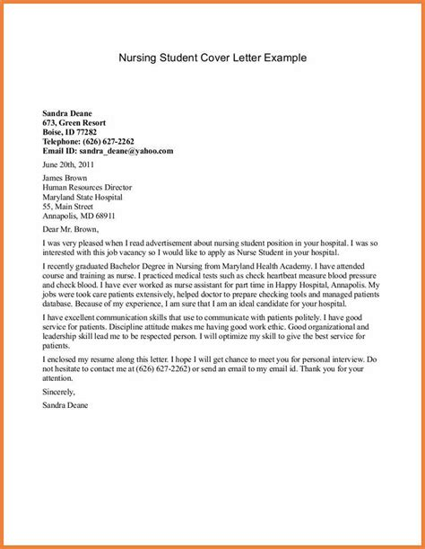 cover letter template for students cover letter for nursing sop