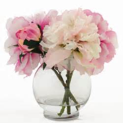 silk peonies artificial faux arrangement with fuchsia light