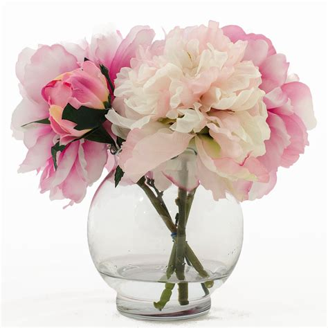 Artificial Peonies In Vase silk peonies artificial faux arrangement with fuchsia light
