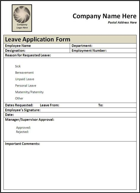 template for leave application form sle leave application form free word s templates