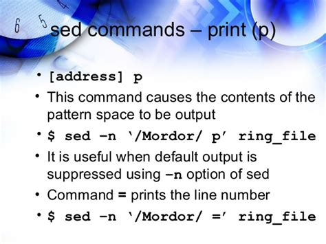 sed pattern line number learning sed and awk