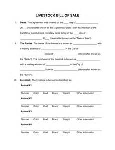 free livestock bill of sale form word pdf eforms