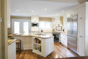 ordinary Angled Kitchen Island Designs #1: transitional-kitchen-design-with-angled-and-L-shaped-kitchen-countertop-angled-kitchen-island-white-cabinets-gloss-wood-slabs-flooring-idea-stainless-steel-appliances.jpg
