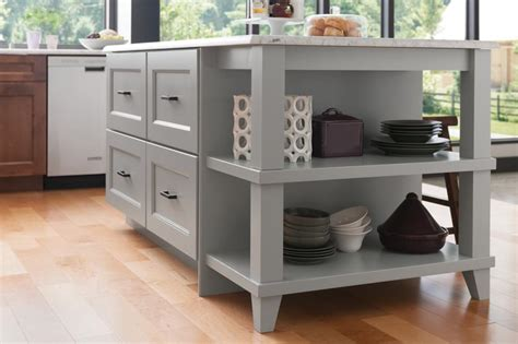 maple kitchen island legs medallion at menards cabinets island with drawers and open end shelf unit with decorative legs