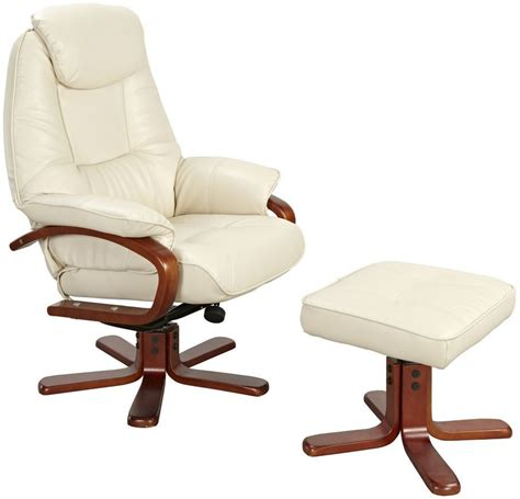 recliner chair with stool buy gfa macau cream bonded leather swivel recliner chair