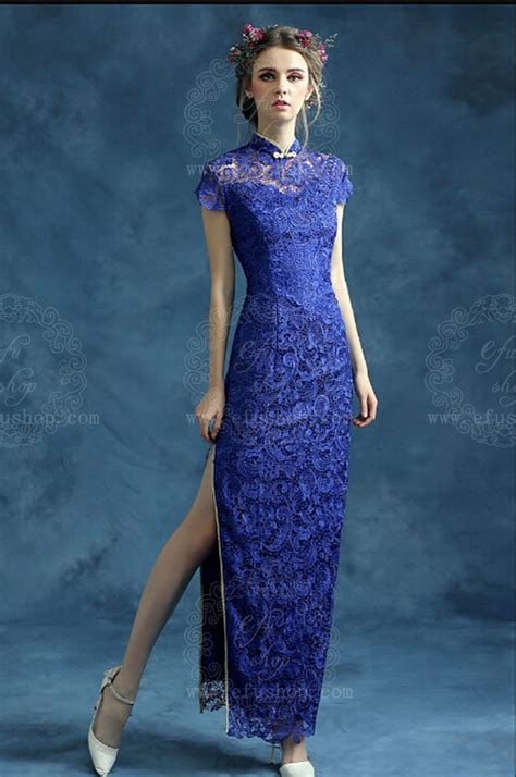 Lace Qipao blue lace cheongsam qipao dress custom made cheongsam