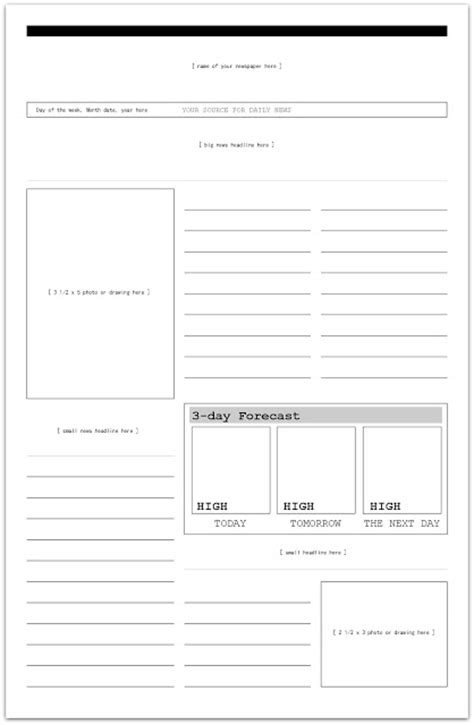 magazine layout ks2 blank newspaper template for kids