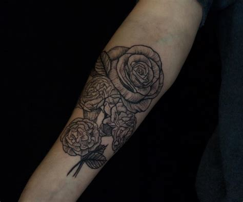 carnation and rose tattoos black and carnation on forearm by ben licata