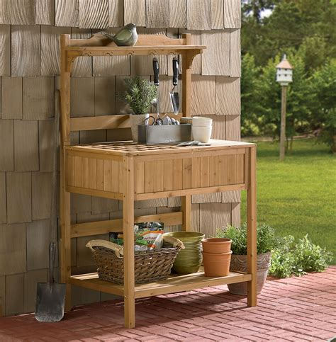 potting bench with storage merry products wood potting bench with recessed storage