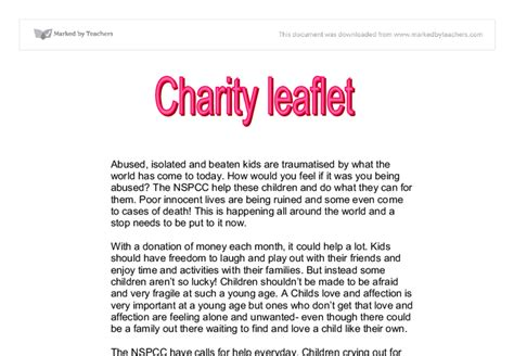 persuasive writing charity appeal letters charity leaflet gcse marked by teachers