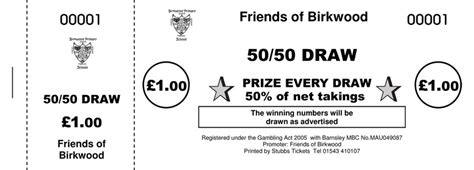 50 50 tickets 183 50 50 raffle ticket printers uk