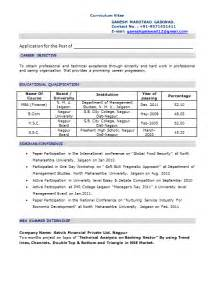 Sample Resume Objectives For It Freshers mba fresher resume