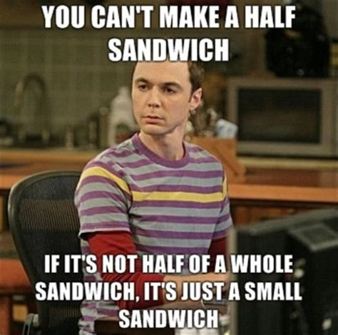 Sandwich Meme - funny big bang theory pictures half a sandwich sheldon