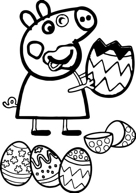 peppa pig easter coloring pages peppa pig funny eating easter egg coloring page