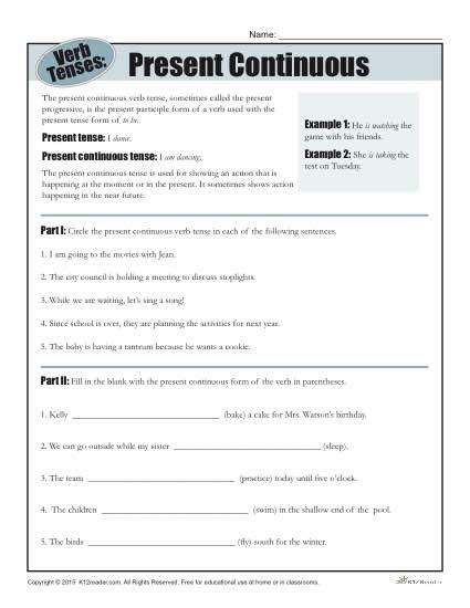 Present Progressive Worksheet by Present Progressive Worksheets Worksheets Releaseboard