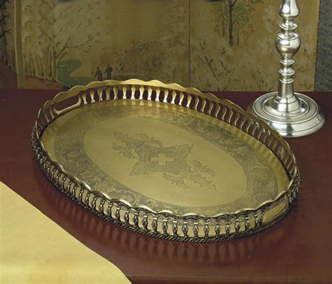 brass and nickel decor antique brass oval gallery tray home decor