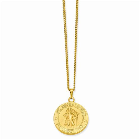 gold plated st christopher medal necklace