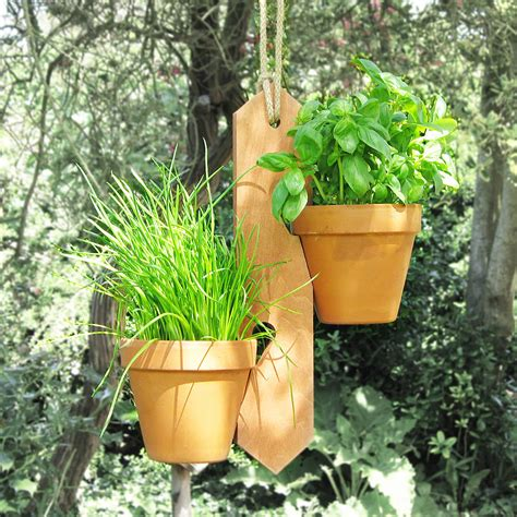 Flower Pot Hangers - two pot hanging plant holder by potnotch