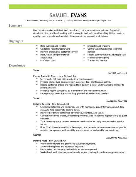 fast food restaurant resume exle best fast food server resume exle livecareer