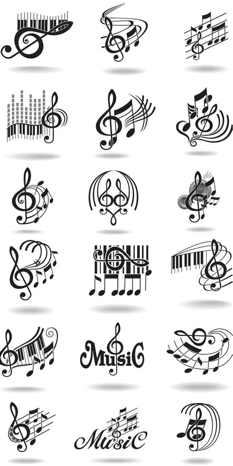 tattoos music notes designs notes staff and treble clef vector tattoos