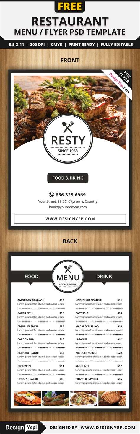 Menu Brochure Template Free by 30 Free Restaurant And Food Menu Flyer Templates Designyep